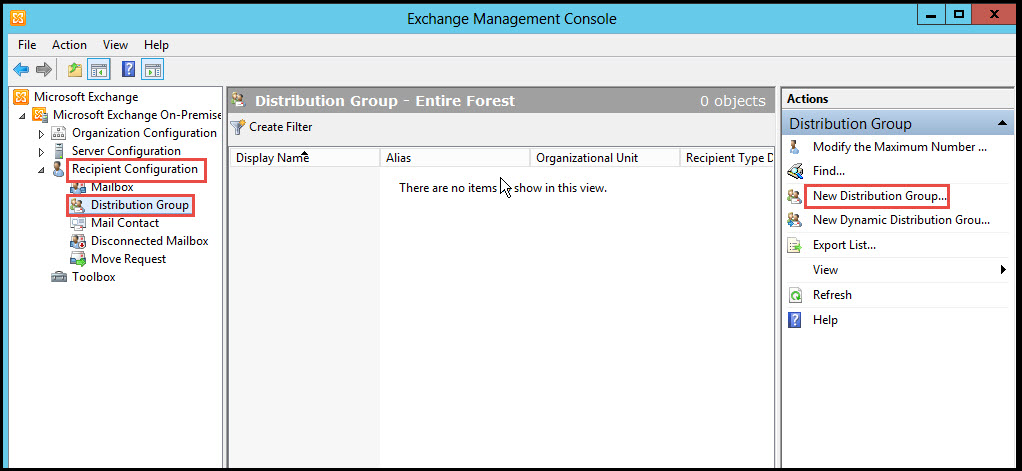 Training exchange server 2010 distribution group exchnage management console 1