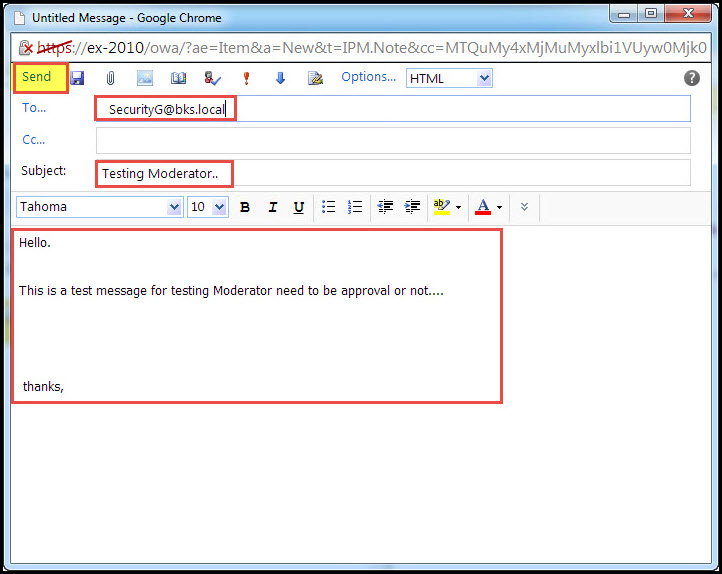 Training exchange server 2010 test moderation for distribution group 4