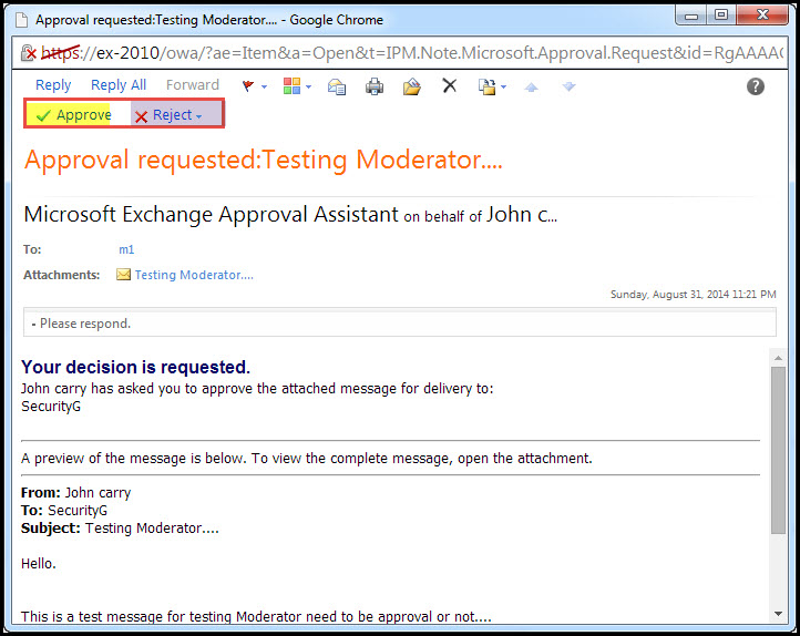 Training exchange server 2010 test moderation for distribution group 7