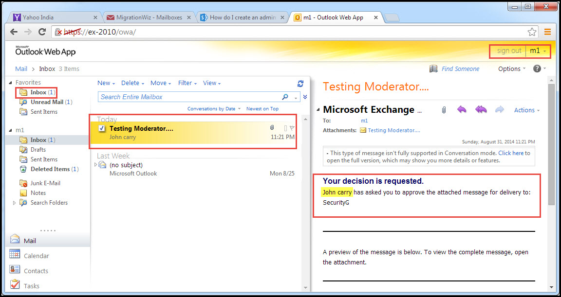 Training exchange server 2010 test moderation for distribution group testing moderation 6