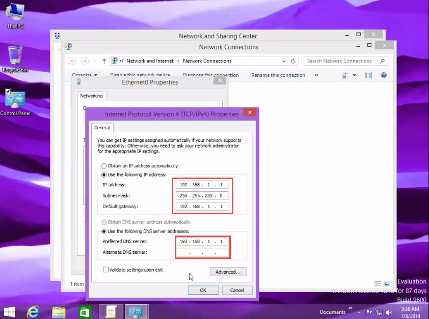 Assigning IP Address in Window 8 give ip