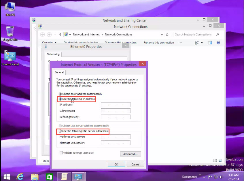 Assigning IP Address in Window 8 use the ip