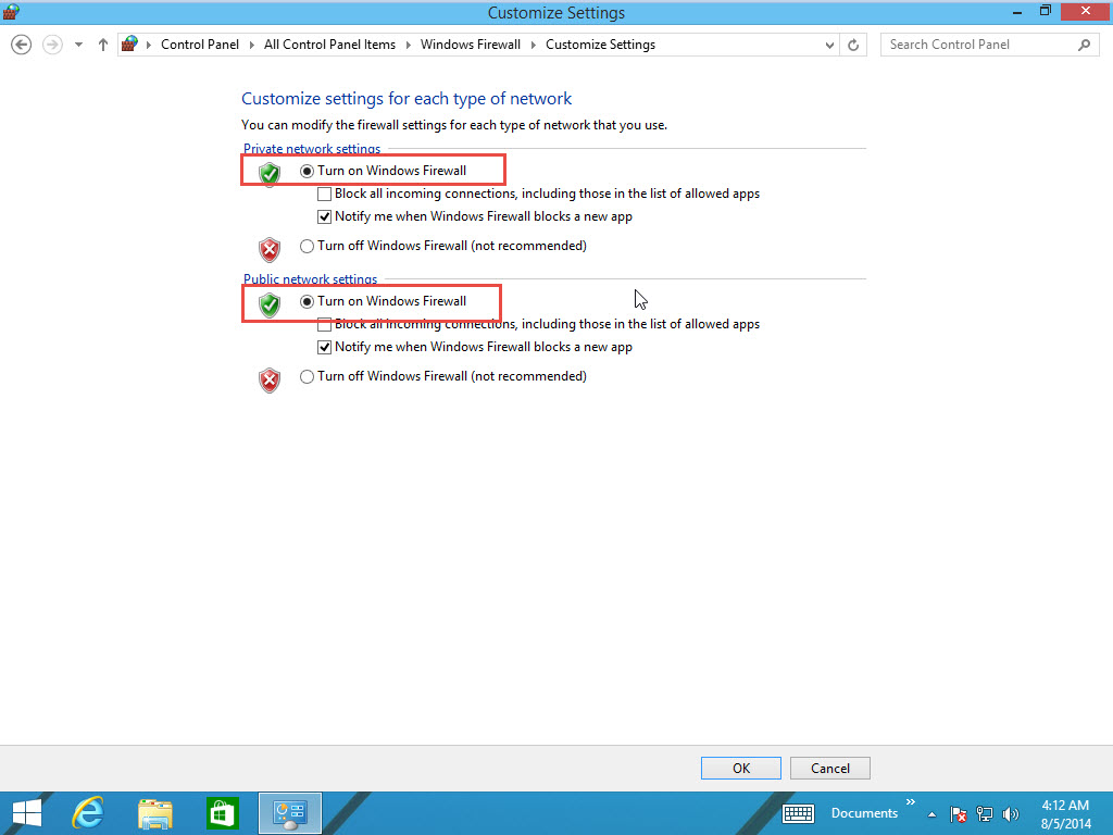 Enable-Disable Window Software Firewall in Windows 8