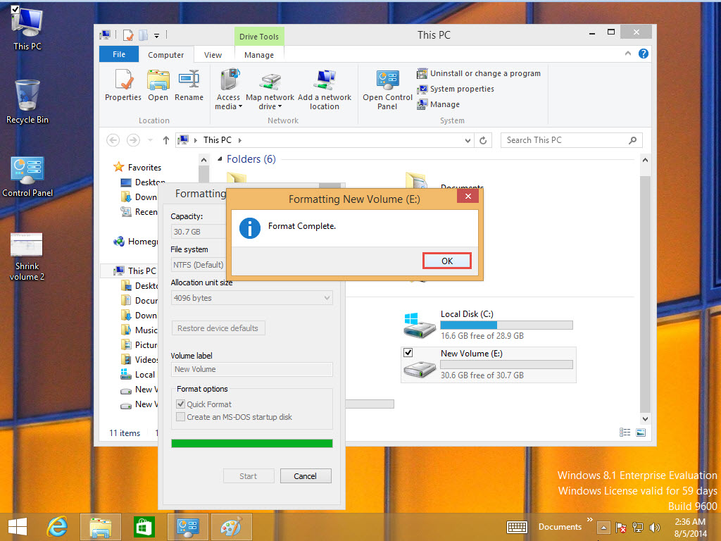 How to Format Drive in Window 8 Training 6