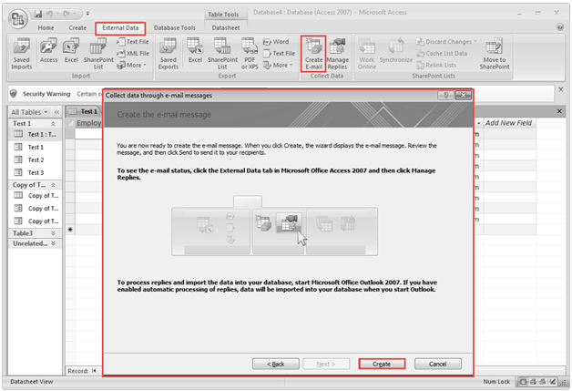 Microsoft access training 2007 Collect feature of External Data menu 8