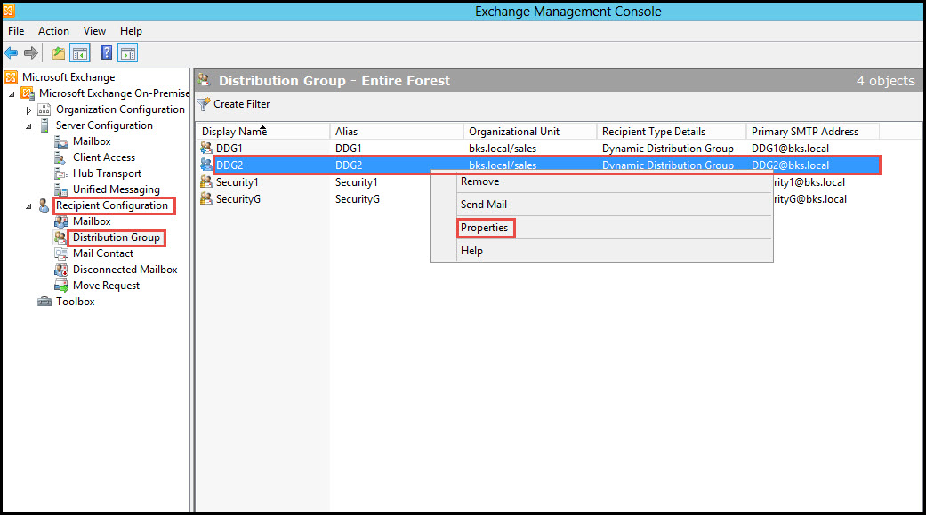 Training exchange server 2010 Testing of Distribution Group exchange management console 1