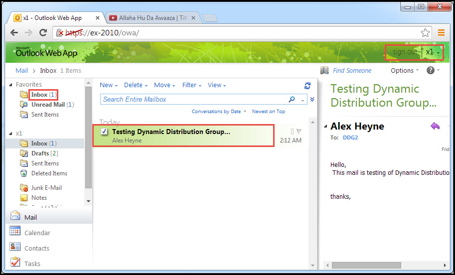 Training exchange server 2010 Testing of Distribution Group outlook web app 6
