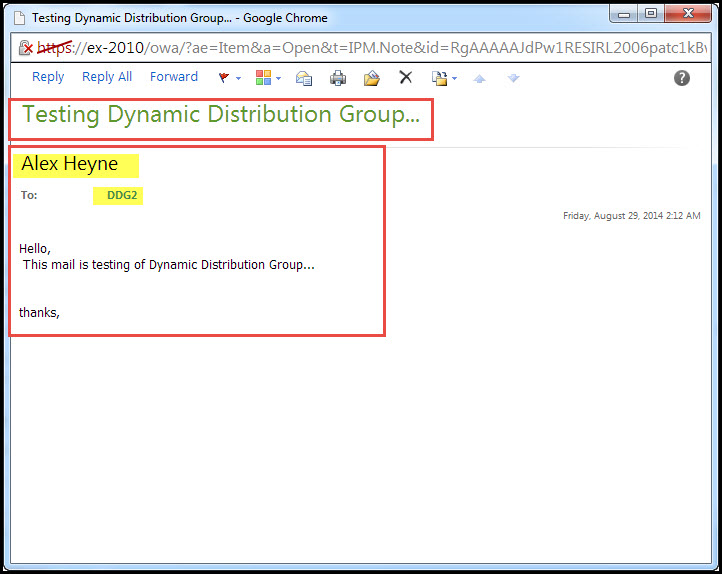 Training exchange server 2010  Testing of Distribution Group outlook web app 7