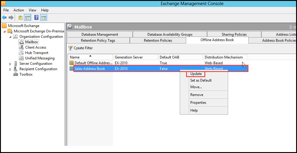 Training exchange server 2010 exchange management console 12