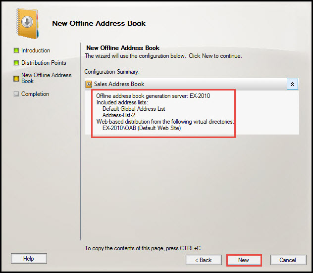 Training exchange server 2010 new offline address book 10