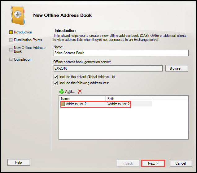 Training exchange server 2010 select address list 6