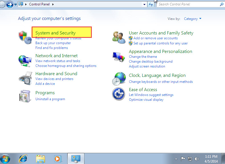"Click on ""System and Security"""