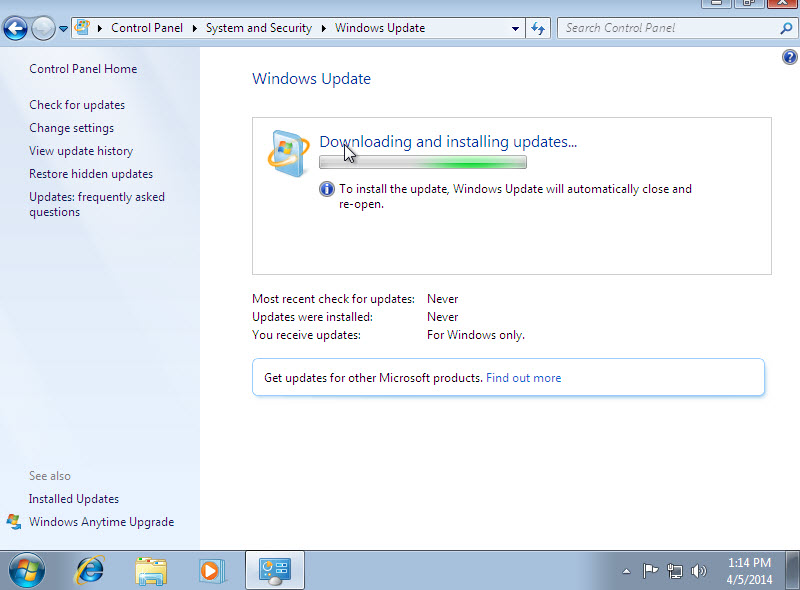 Now System downloading installing new updates.