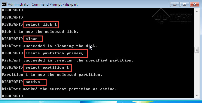 """Type command """"active"""". Make the partition active."""
