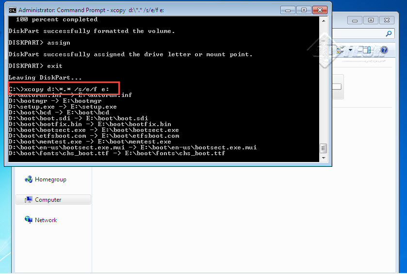 Bootable USB-drive Type Exit