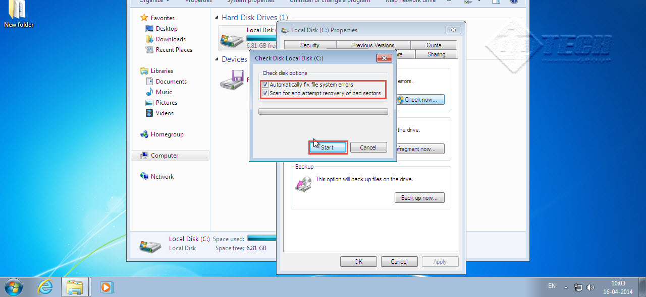 Select both automatically fix file system error. And Scan for and attempt recovery bad sectors