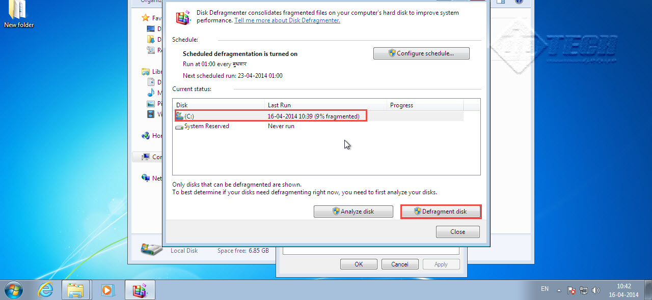 "click on ""Defragment Disk"