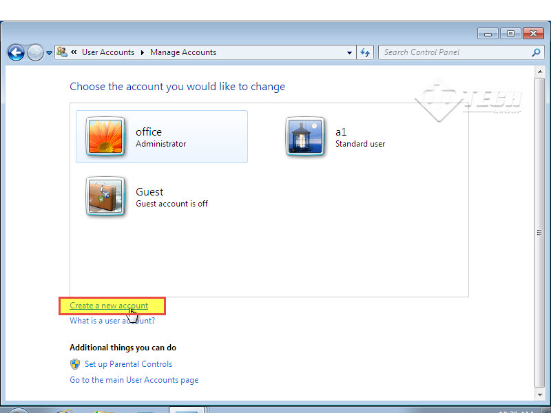 Microsoft training 2007  Add User Account and set Password choose the account 4