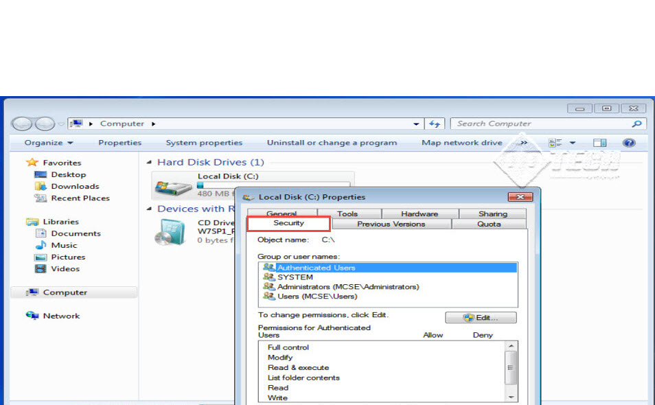 Microsoft training 2007 Configure Local security Policy security 8