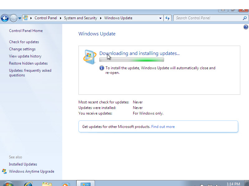 Microsoft training 2007 window update downloading and installing update 5