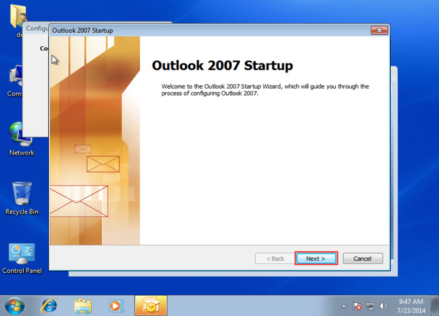Microsoft training Configure an Email Account in Outlook 2007 1