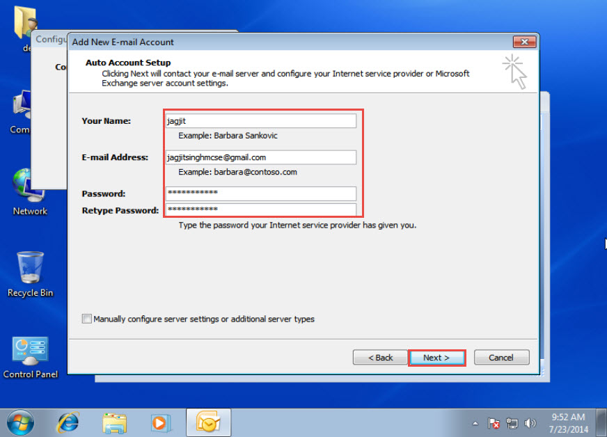 Microsoft training Configure an Email Account in Outlook 2007 add new email account 3