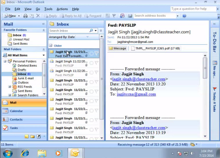 Microsoft training Configure an Email Account in Outlook 2007 inbox outlook 5