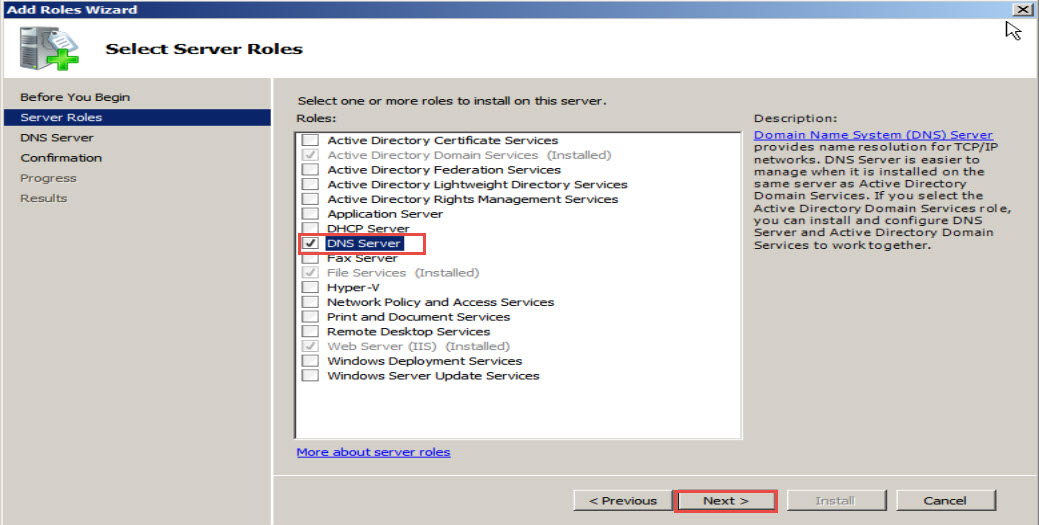 Training to Install Domain Name System (DNS) In Windows Server 2008 click next