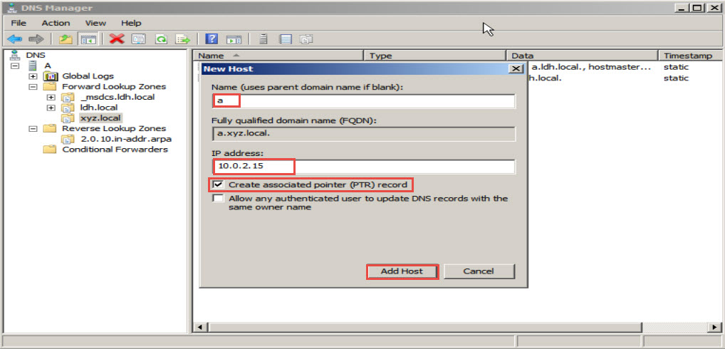 Training to Install Domain Name System (DNS) In Windows Server 2008 add host 20