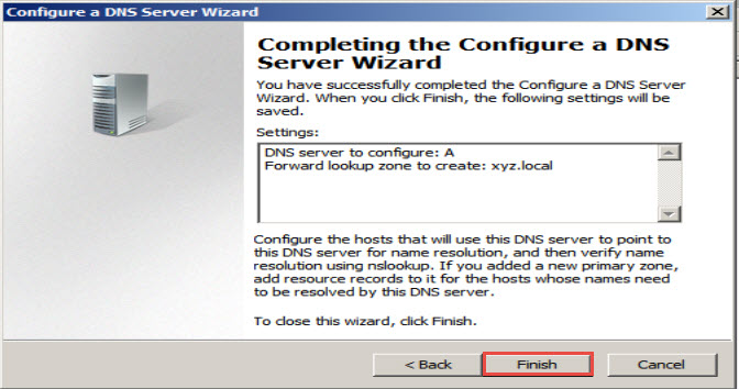 Training to Install Domain Name System (DNS) In Windows Server 2008 finish