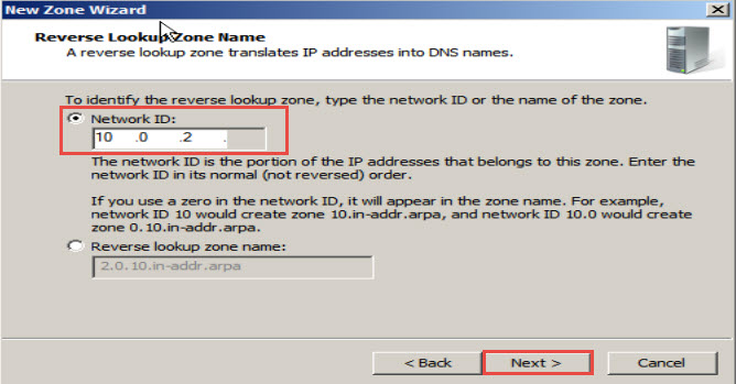 Training to Install Domain Name System (DNS) In Windows Server 2008 network id click next 16