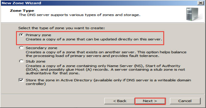 Training to Install Domain Name System (DNS) In Windows Server 2008 primary zone click next 10