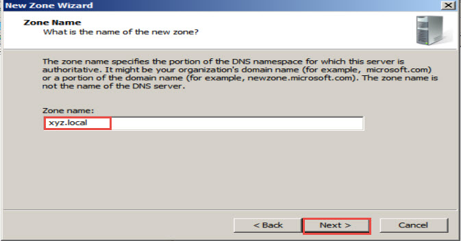 Training to Install Domain Name System (DNS) In Windows Server 2008 zone name next 11