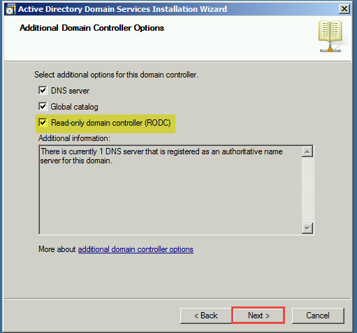 Training to Install Read Only Domain Controller (RODC)  Additional Domain Controller options