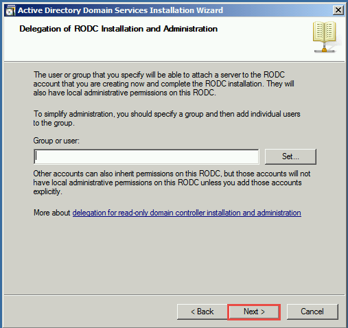 Training to Install Read Only Domain Controller (RODC)  set group user