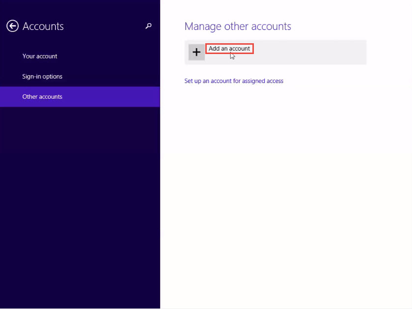 Training to Set Up a New Local Account in Window 8 add accounts
