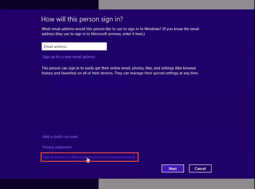 Training to Set Up a New Local Account in Window 8 sign without microsoft account