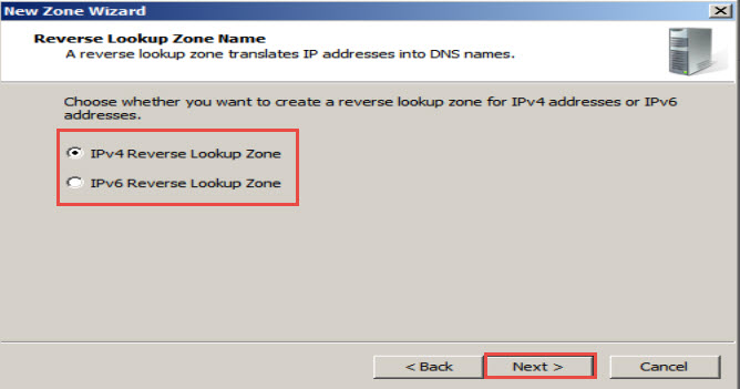"select IPv4/IPv6 Reverse Lookup Zone and click on the ""Next"""