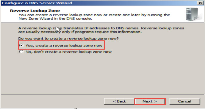 """Yes, create a reverse lookup zone now"""