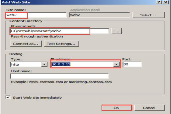 "Select the ""IP Address"" of the Web Server"