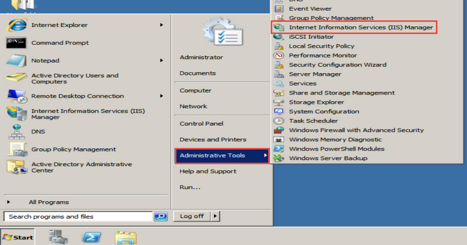 """Administrative Tools"" option and click on the ""Internet Information Services (IIS) Manager"""