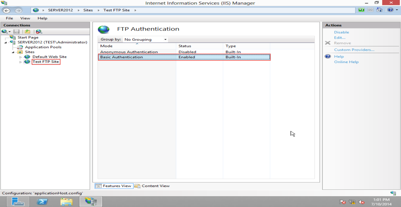 Training  to Configure FTP Server  on Windows Server 2012 (Part -4) Basic Authenticantion