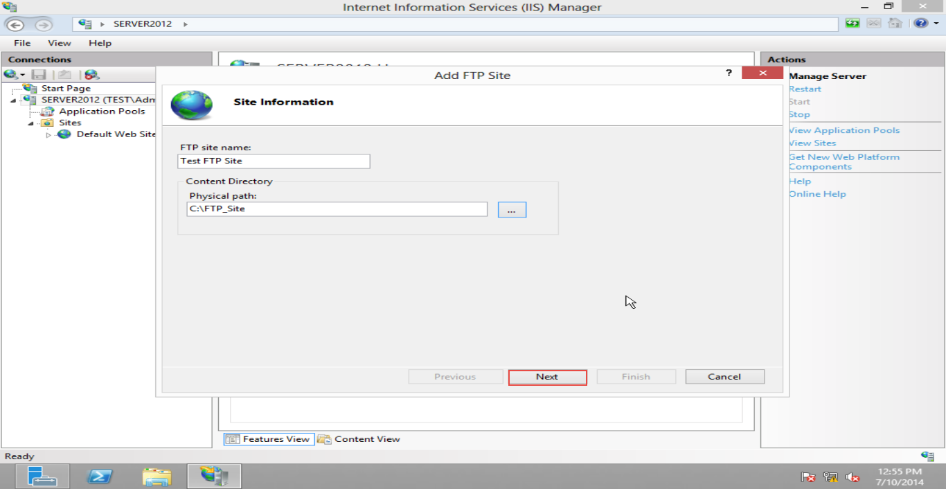 Training  to Configure FTP Server  on Windows Server 2012 (Part -4) next