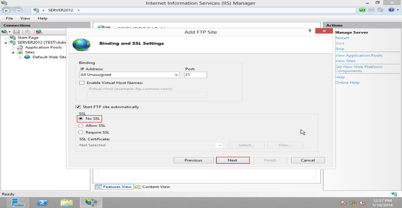 Training  to Configure FTP Server  on Windows Server 2012 (Part -4) Select no SSl then click on Next