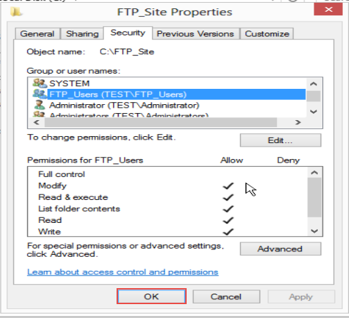Training to Create Folder and Set Permissions for FTP Service in Windows Server 2012 (Part-2) 9