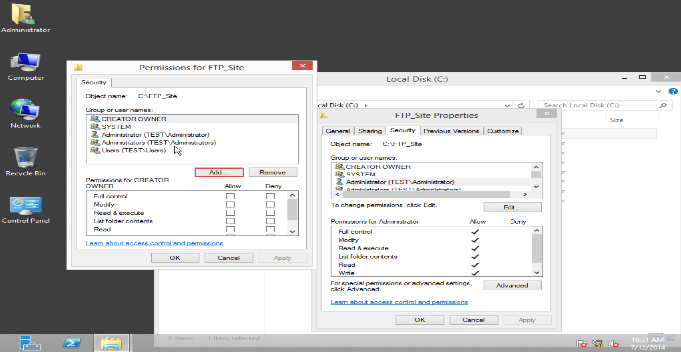 Training to Create Folder and Set Permissions for FTP Service in Windows Server 2012 (Part-2) add button 4