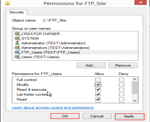 Training to Create Folder and Set Permissions for FTP Service in Windows Server 2012 (Part-2) save changes