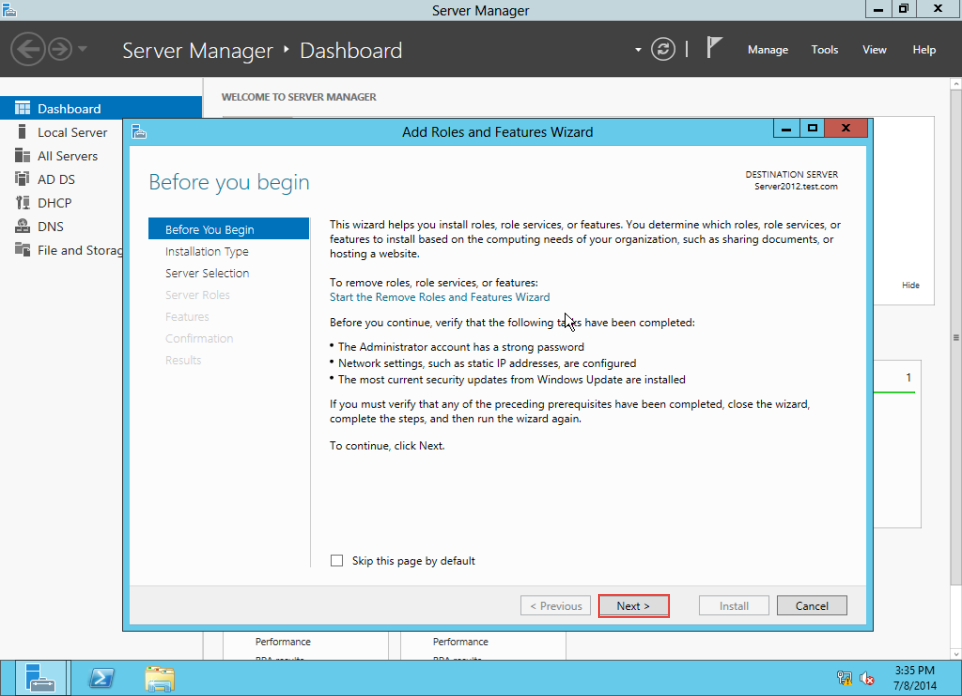 Training to Create MY Computer Shortcut in Windows Server 2012 add roles and features wizard 3