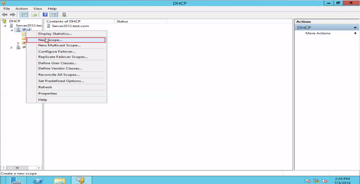 Training to Create a Scope in Windows Server 2012 DHCP