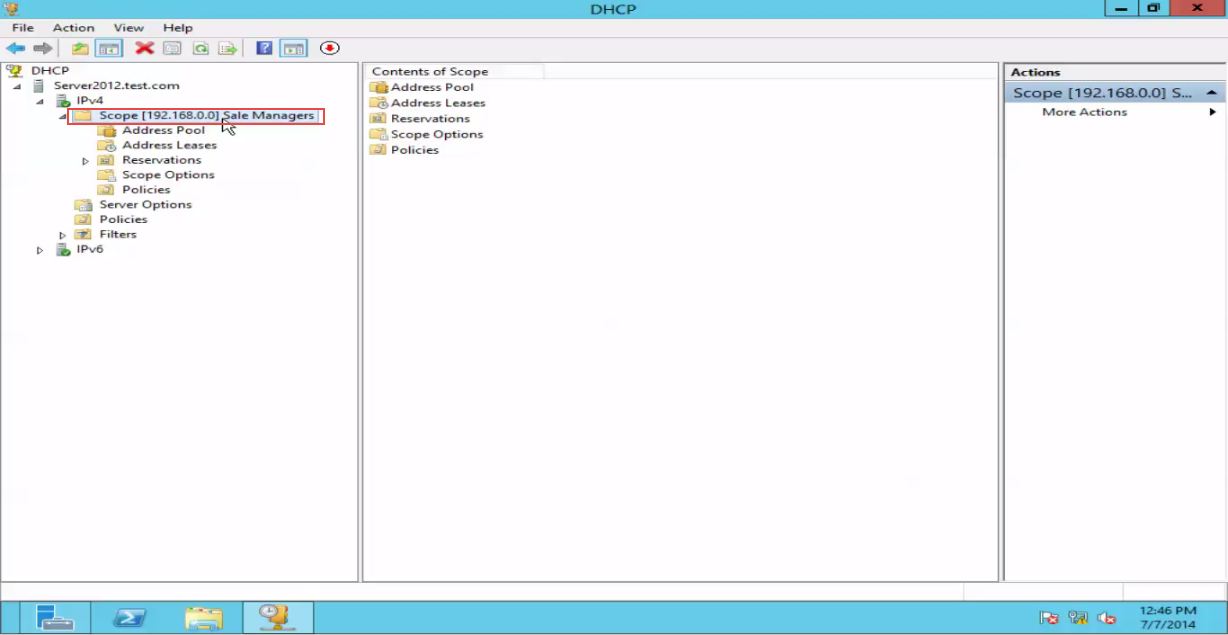 Training to Create a Scope in Windows Server 2012 new scope configured 15